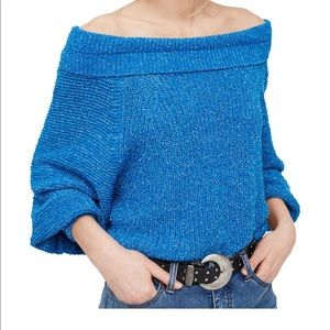Free People blue wide cowl neck sweater Small!